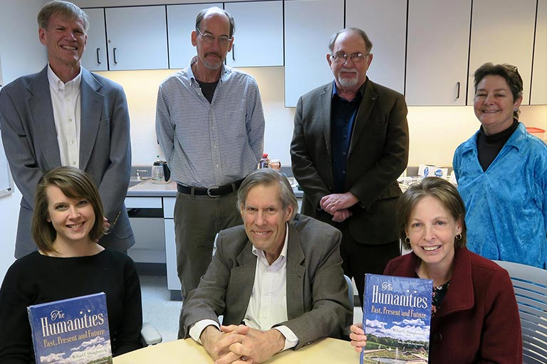 "ENMU faculty contributing to ""The Humanities: Past, Present and Future"" book were: (front) Dr. Jennifer Laubenthal, Dr. Michael Shaughnessy, Dr. Anne Beck; (back) Dr. Donald Elder III, Mr. Greg Erf, Dr. Wally Thompson, Ms. Geni Flores. Not pictured is Ms. Opal Greer."