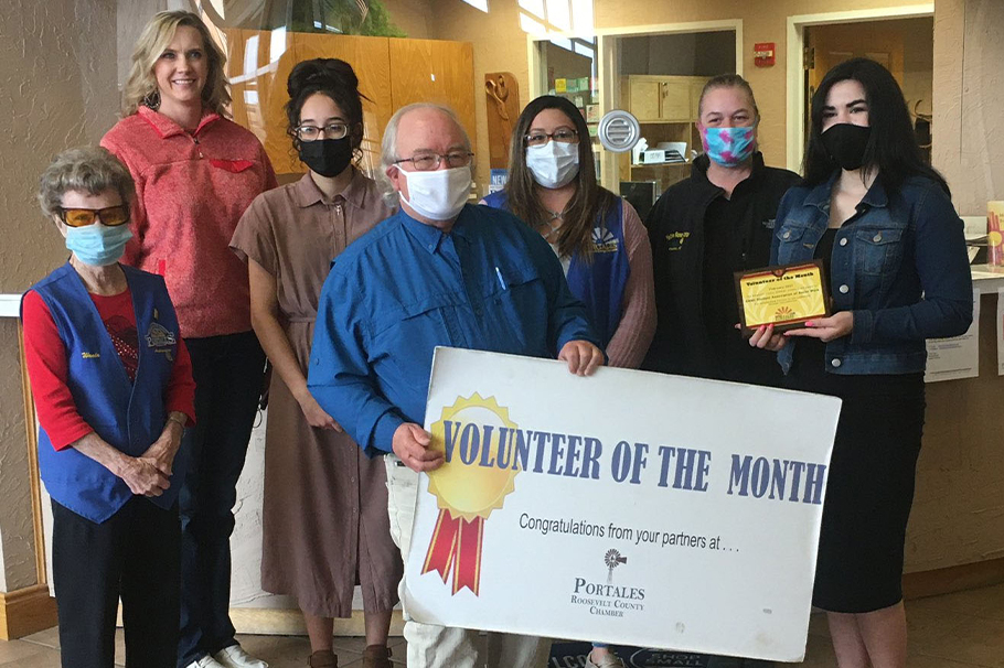The Eastern New Mexico University Student Association of Social Workers receiving Volunteer of the Month for February form the Roosevelt County Chamber of Commerce.
