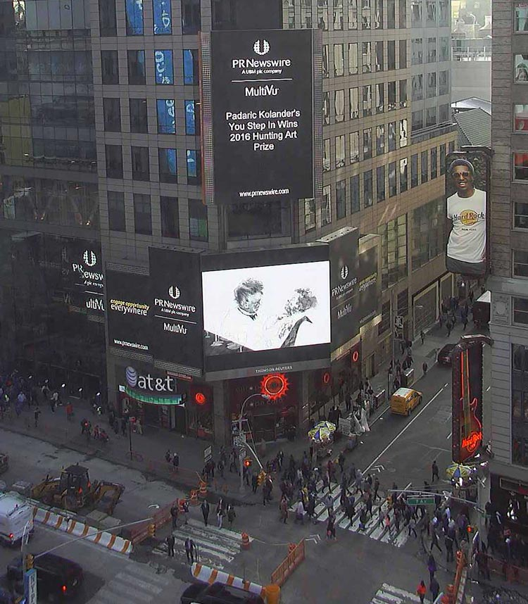 padaric art featured in time square