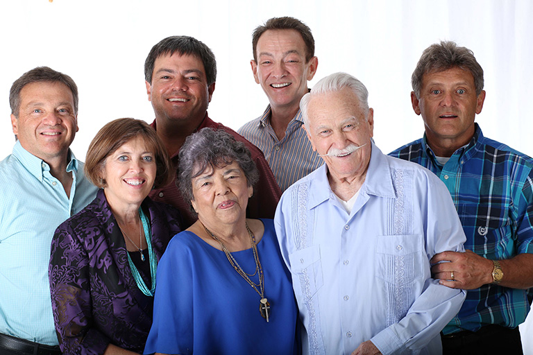 The Speck Family. Front Row (L-R): Laura, Adelaide and George. Back Row (L-R): Steve, Greg, Jim and Mike.