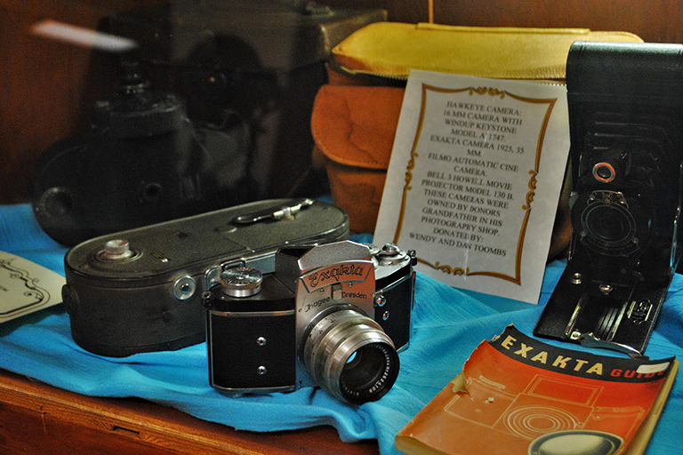 Camera display at Roosevelt County Museum