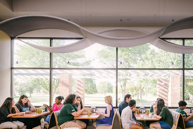Students visiting the Crossroads Café Dining Hall in the Campus Union (CUB).