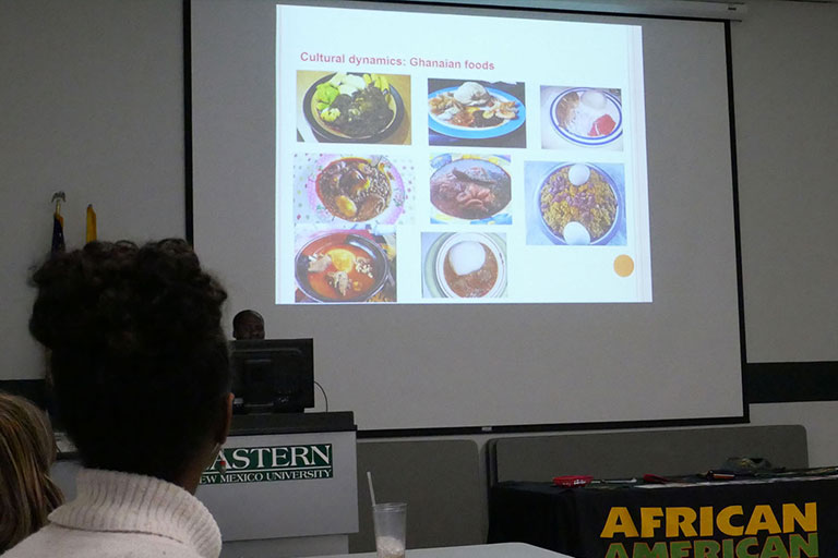 Jones Adjei, an international student, gave a presentation on Ghana.
