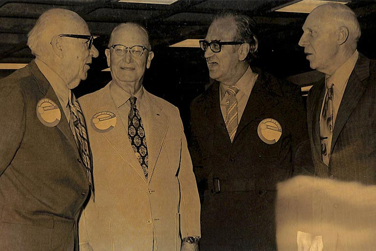 Former presidents of ENMU (from left): Donald McKay, Floyd Golden, Donald Moyer and Charles Meister.