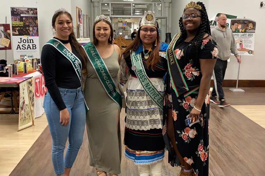 ENMU's Black Excellence 2020-21 Sinnette Wafer (right) with other ENMU Royalty on Royalty Day.