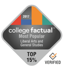 college factual most popular liberal arts and general studies top fifteen percent