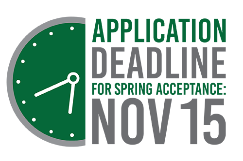 Application deadline for spring acceptance: November 15