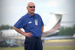 Dennis Gruba on the job as an aviation mechanic.