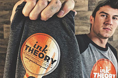 Greyhound Grad Austin Patterson, pictured here, recently started a t-shirt company called Ink Theory with his business partner, Austin Wade.